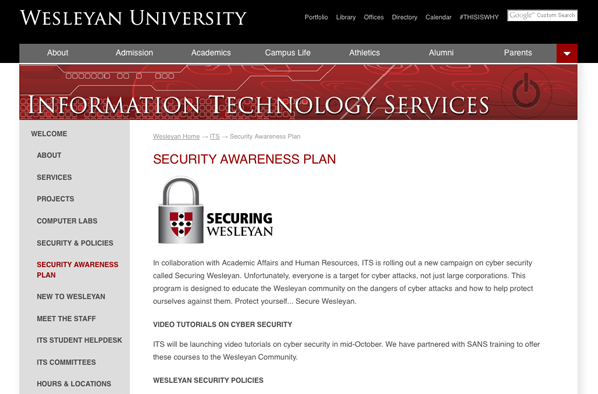 Security Awareness Plan on ITS website